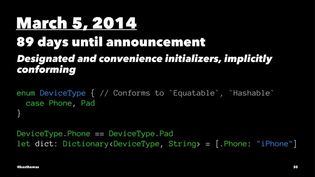 March 5, 2014 89 days until announcement Design...