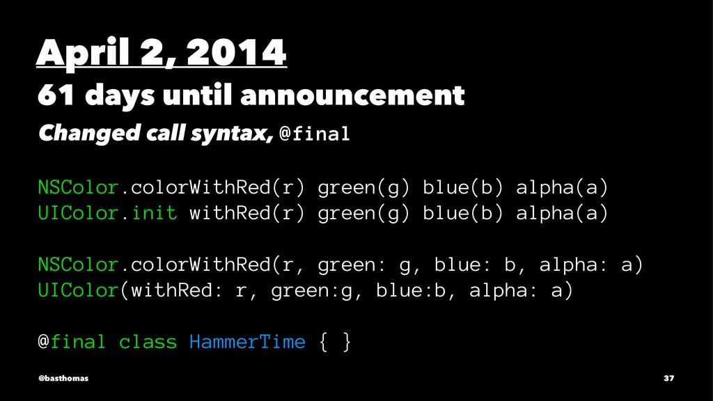 April 2, 2014 61 days until announcement Change...