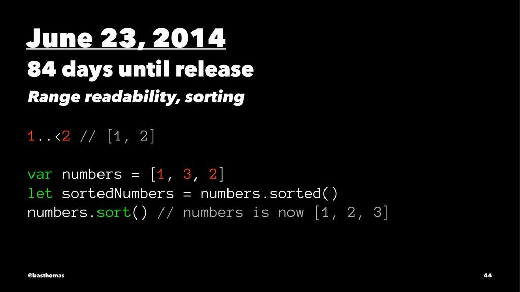 June 23, 2014 84 days until release Range reada...