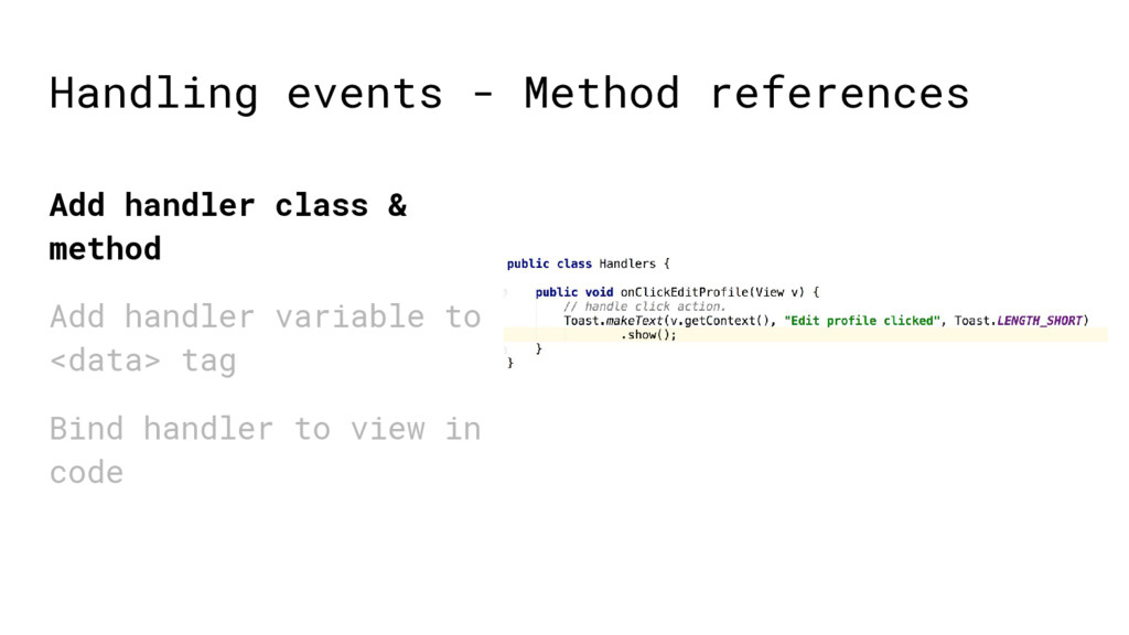 Add handler class & method Add handler variable...