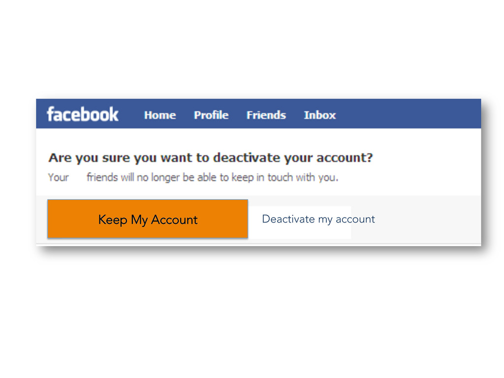Keep My Account Deactivate my account