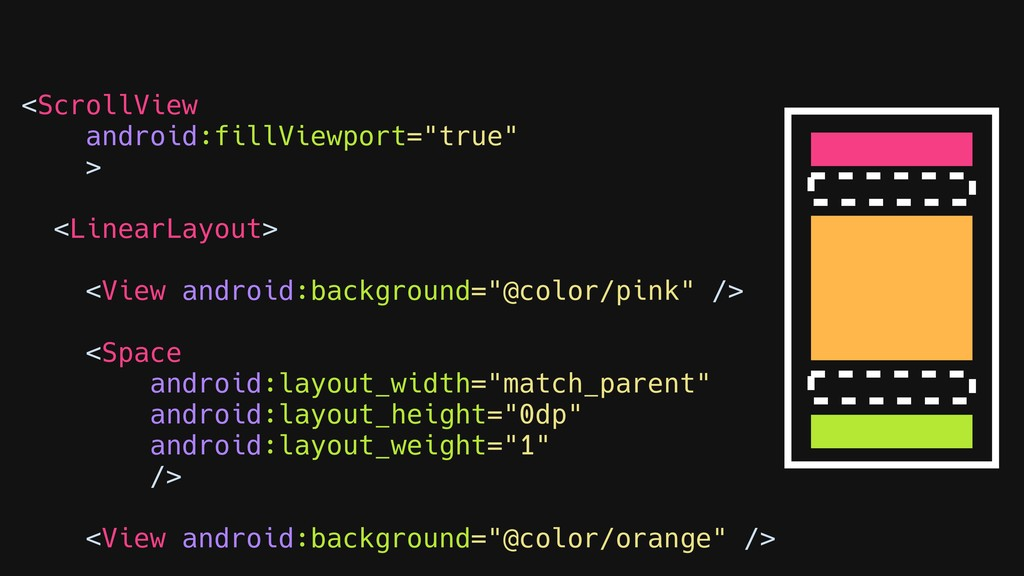 """<ScrollView android:fillViewport=""""true"""" > <Line..."""