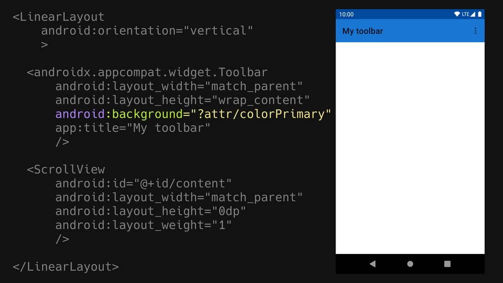 """<LinearLayout android:orientation=""""vertical"""" > ..."""