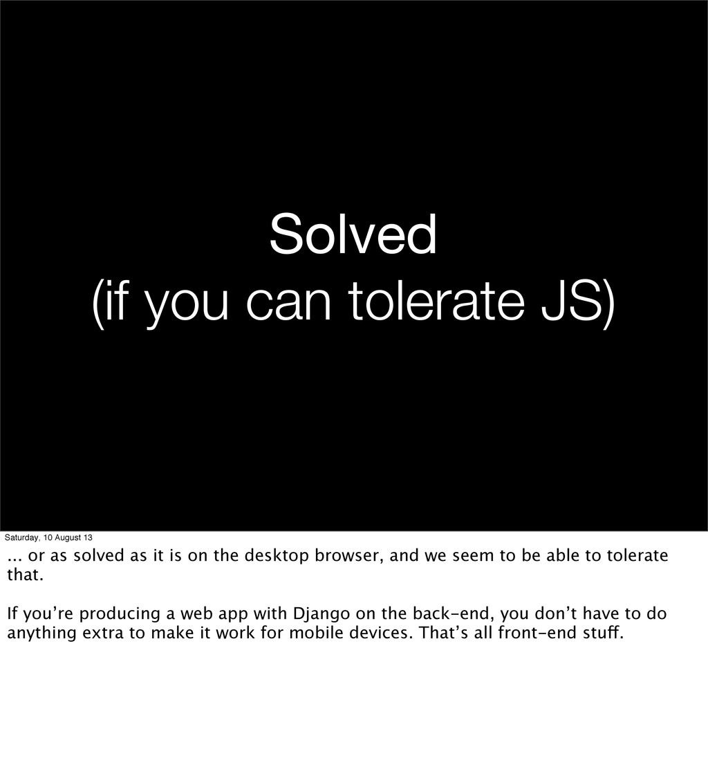 Solved (if you can tolerate JS) Saturday, 10 Au...