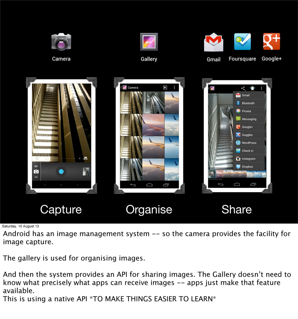 Capture Organise Share Saturday, 10 August 13 A...