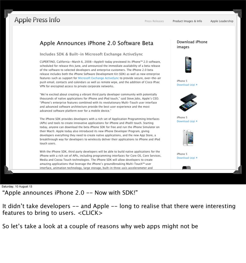 """Saturday, 10 August 13 """"Apple announces iPhone ..."""