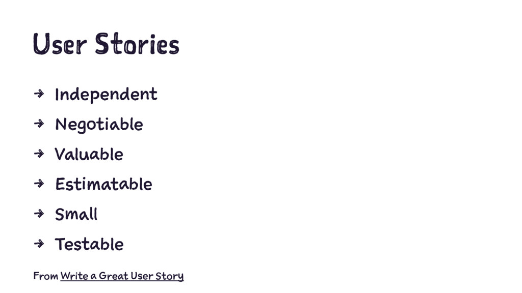 User Stories 4 Independent 4 Negotiable 4 Valua...