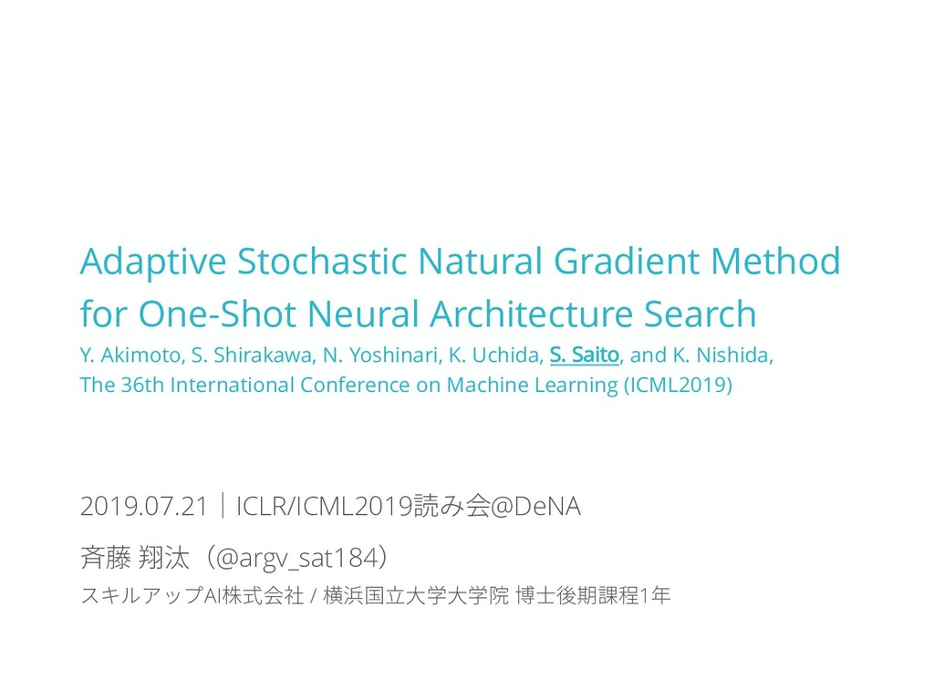 Adaptive Stochastic Natural Gradient Method for...