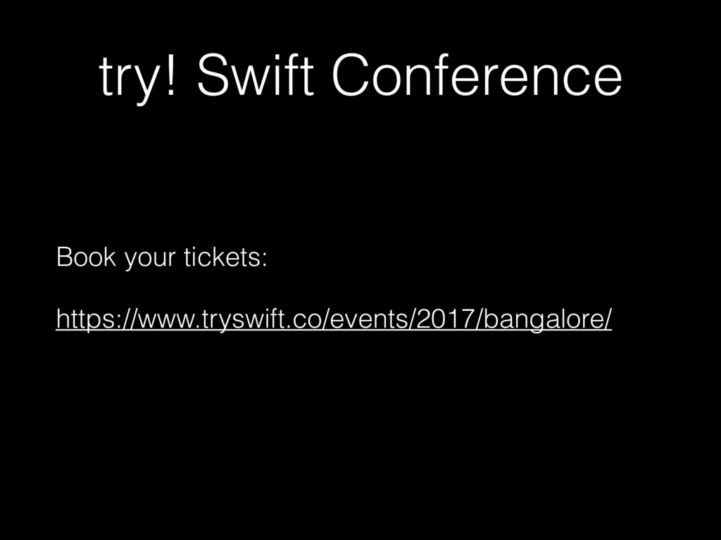try! Swift Conference Book your tickets: https:...