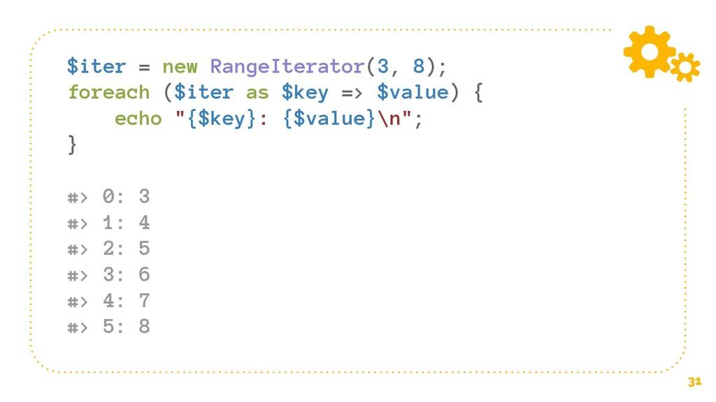 31 $iter = new RangeIterator(3, 8); foreach ($i...