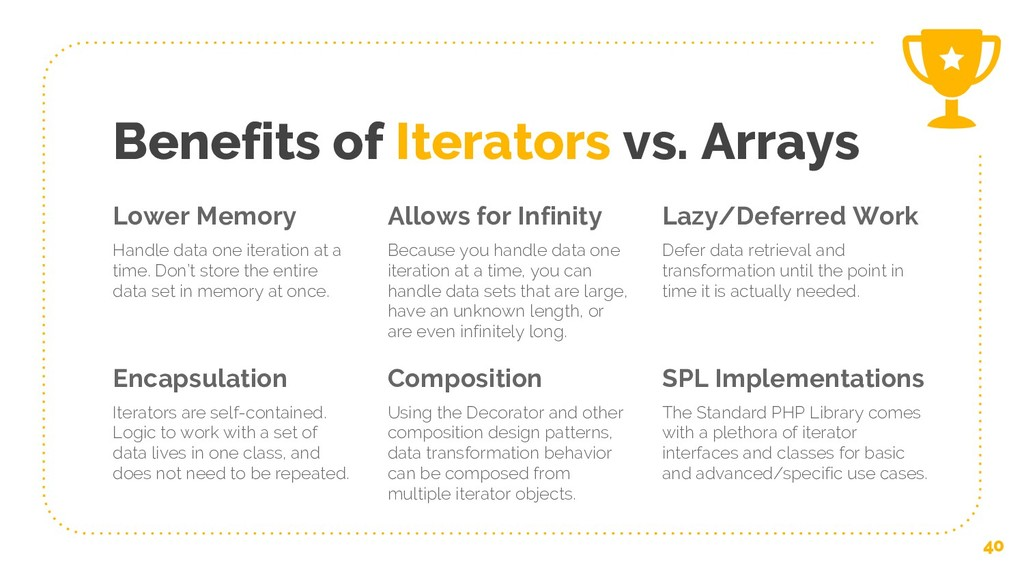 Benefits of Iterators vs. Arrays Lower Memory H...