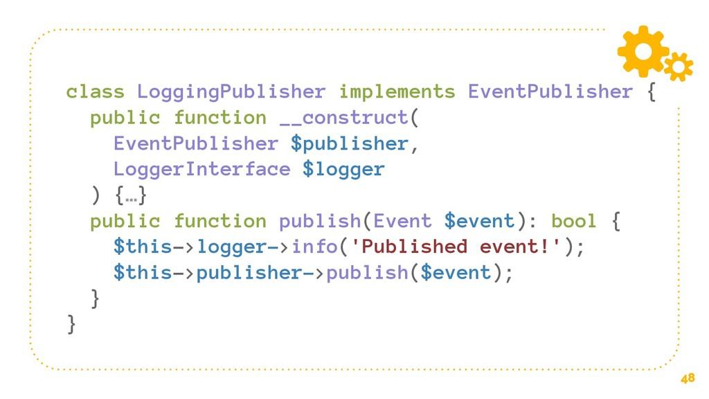 48 class LoggingPublisher implements EventPubli...