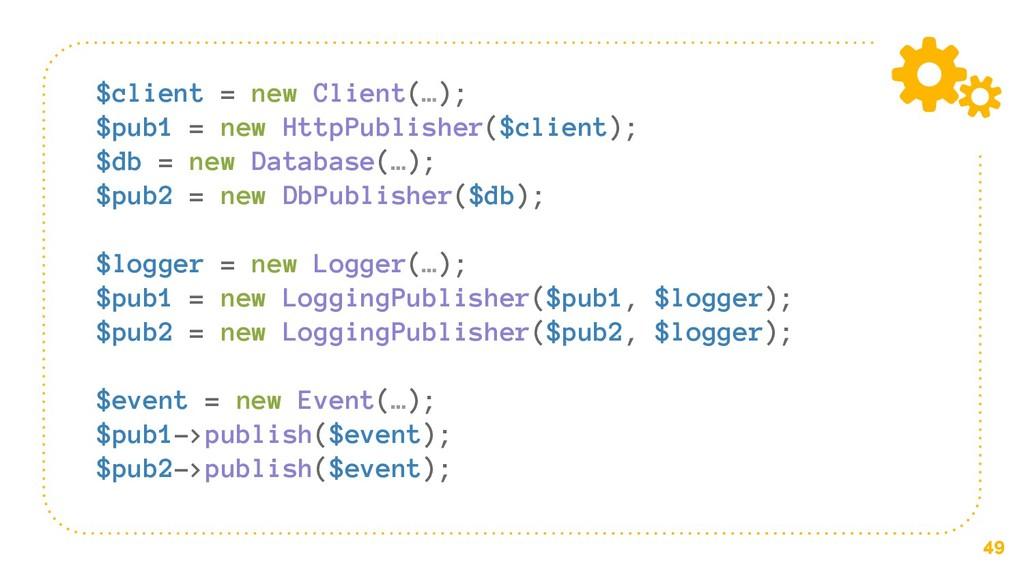 49 $client = new Client(…); $pub1 = new HttpPub...