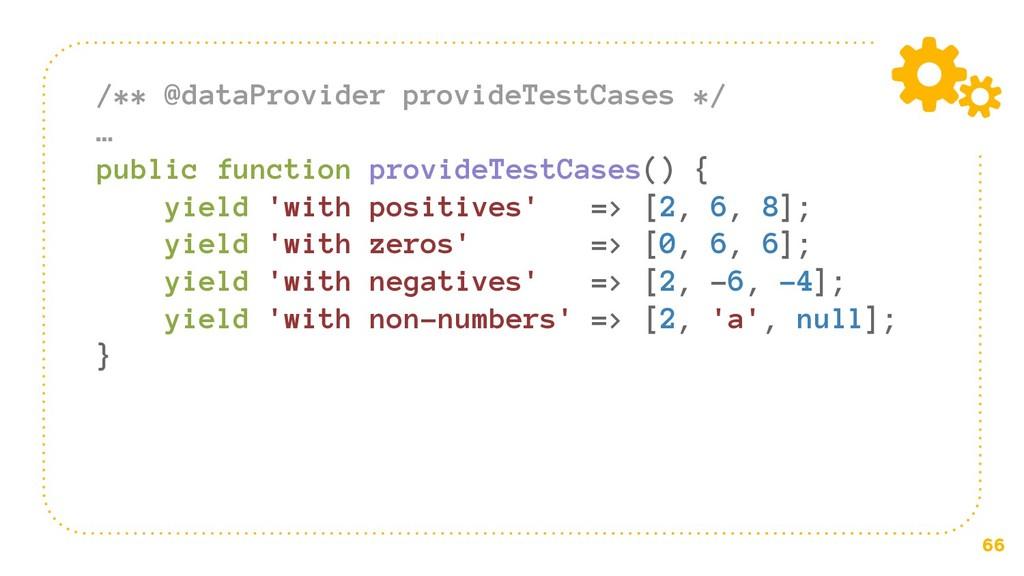 66 /** @dataProvider provideTestCases */ … publ...