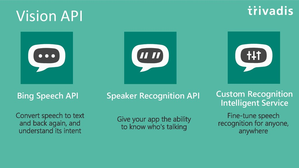 Vision API Bing Speech API Speaker Recognition ...