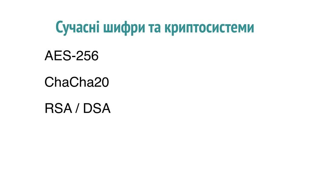 Сучасні шифри та криптосистеми AES-256 ChaCha20...