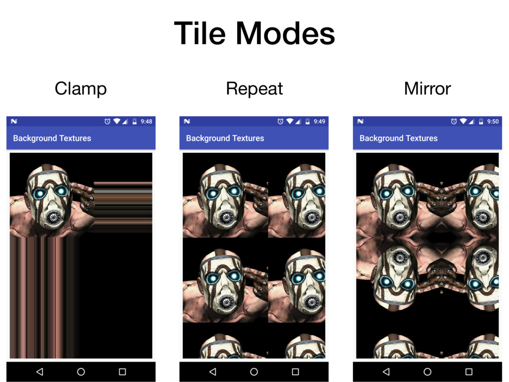 Clamp Repeat Mirror Tile Modes