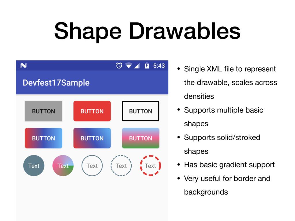 Shape Drawables • Single XML file to represent t...
