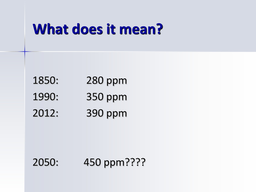 What does it mean? 1850: 280 ppm 1990: 350 ppm ...
