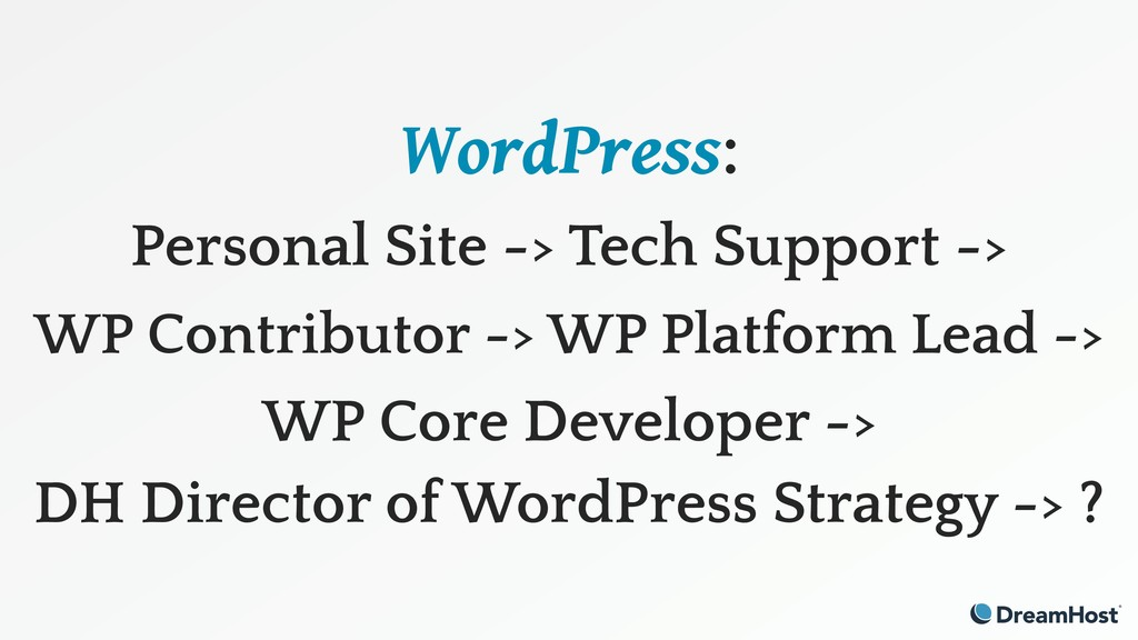 WordPress: Personal Site -> Tech Support ->
