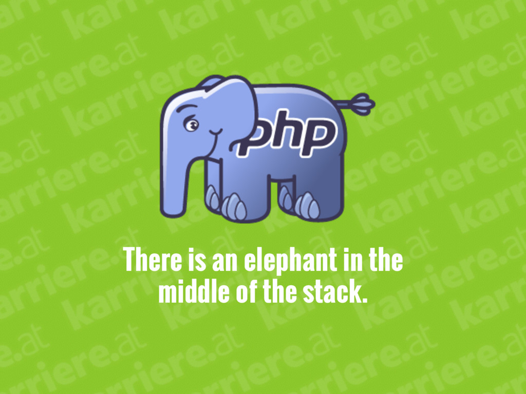 There is an elephant in the middle of the stack.