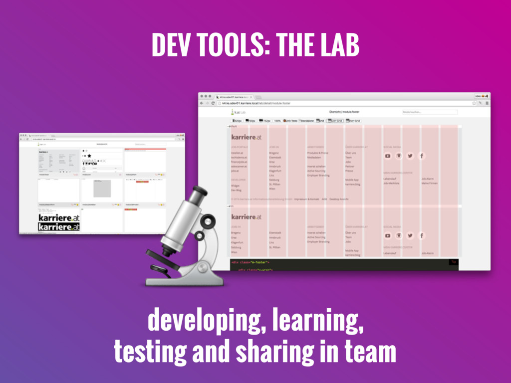 DEV TOOLS: THE LAB  developing, learning, testi...