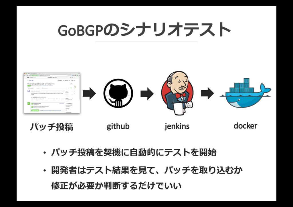 GoBGPのシナリオテスト github jenkins docker パッチ投稿 • パッチ...
