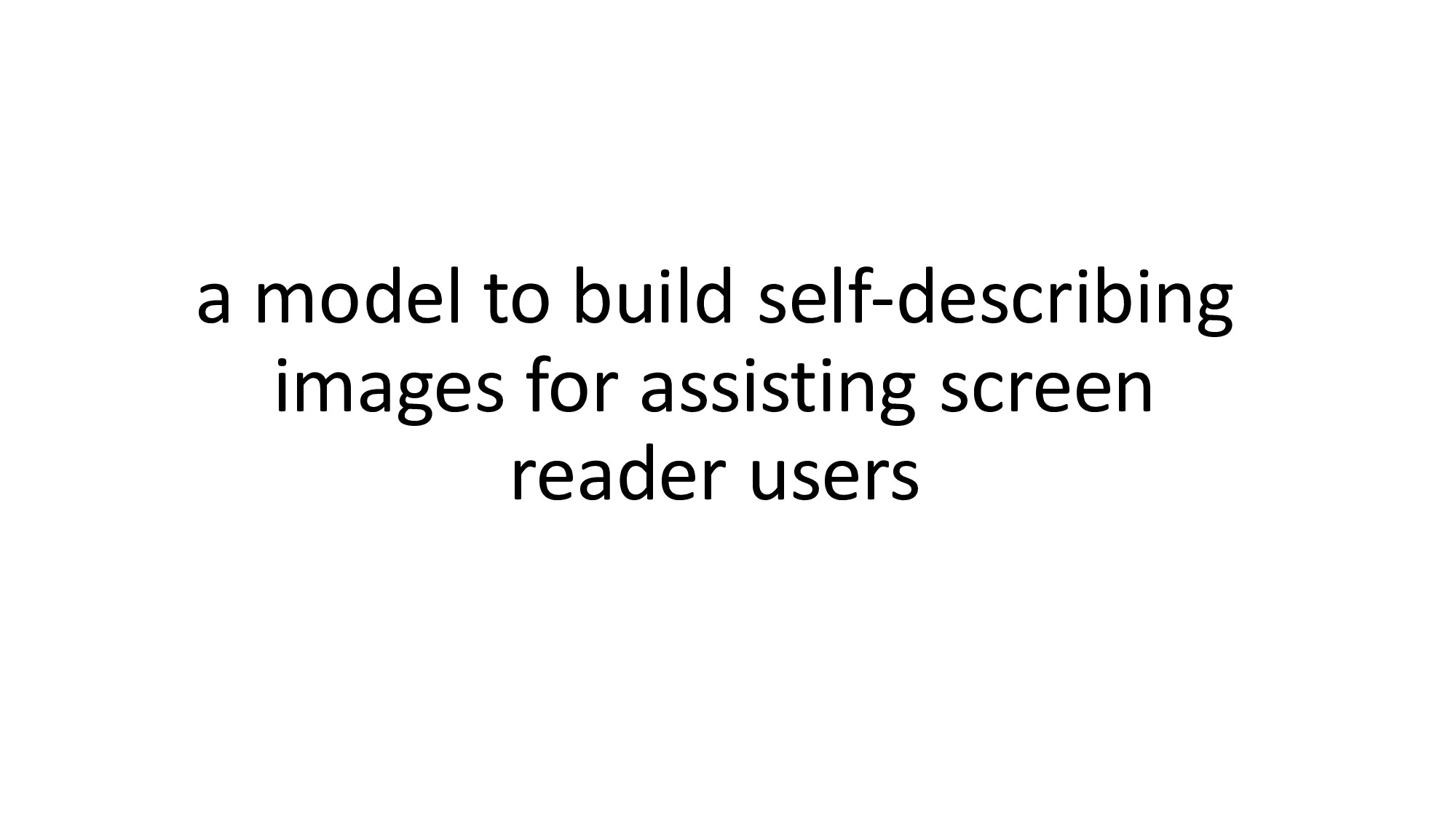 a model to build self‐describing images for ass...