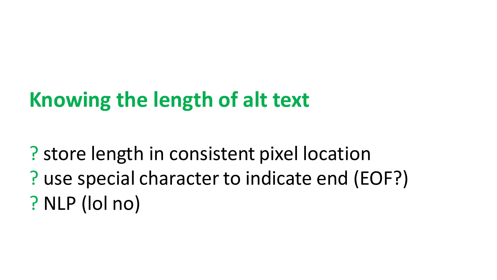 Knowing the length of alt text ? store length i...