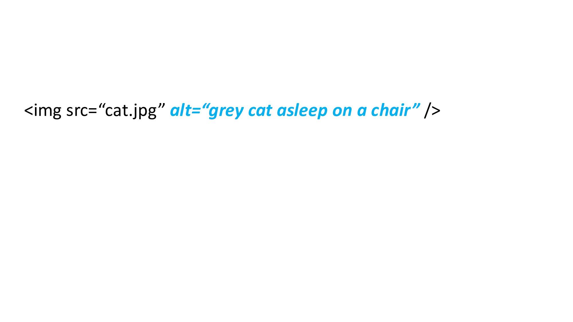 """<img src=""""cat.jpg"""" alt=""""grey cat asleep on a ch..."""