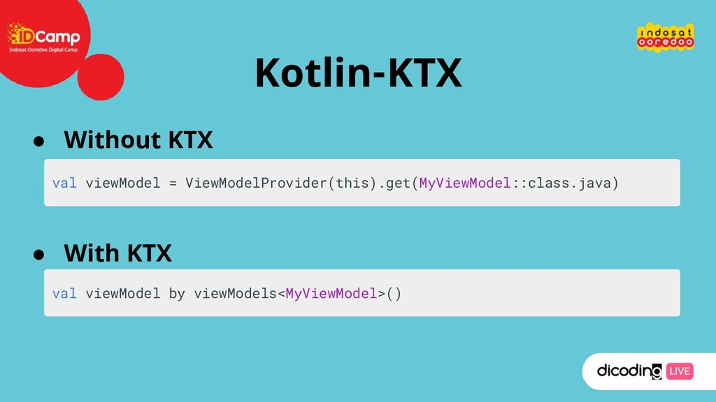 Kotlin-KTX ● Without KTX ● With KTX val viewMod...