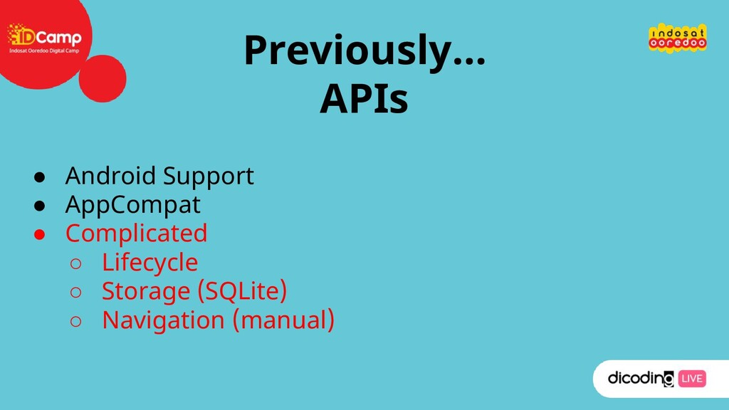 Previously… APIs ● Android Support ● AppCompat ...