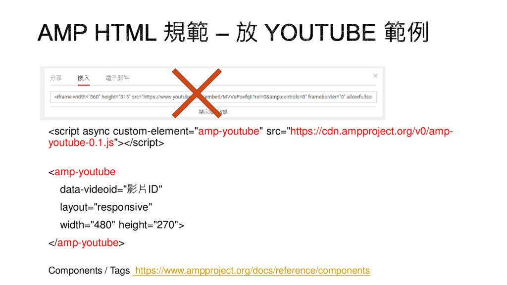 "<script async custom-element=""amp-youtube"" src=..."