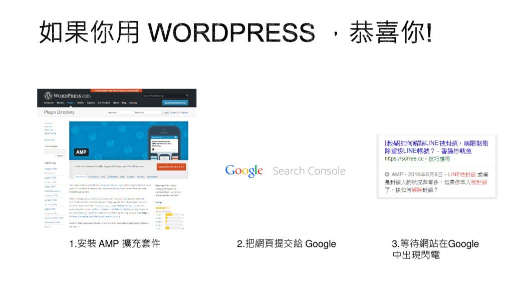 1.安裝 AMP 擴充套件 2.把網頁提交給 Google 3.等待網站在Google 中出現...