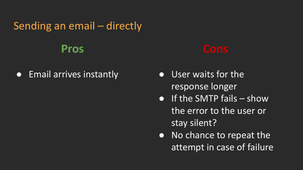 Sending an email – directly Pros ● Email arrive...