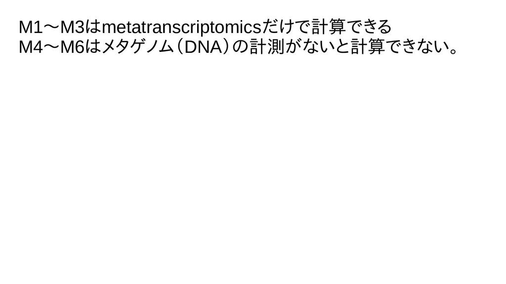 M1〜M3は不能。metatranscriptomicsだけで計測、計算できるで計測、きる M...