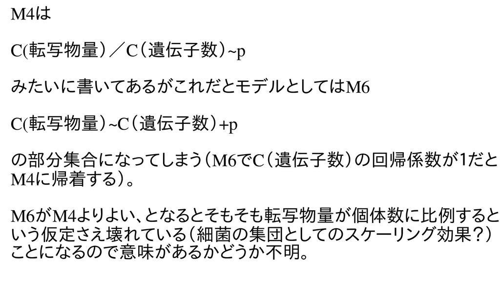 M4は不能。 C(転写物量)で計測、/C(計測ごとに「種遺伝子の発現量数)で計測、~pp みた...