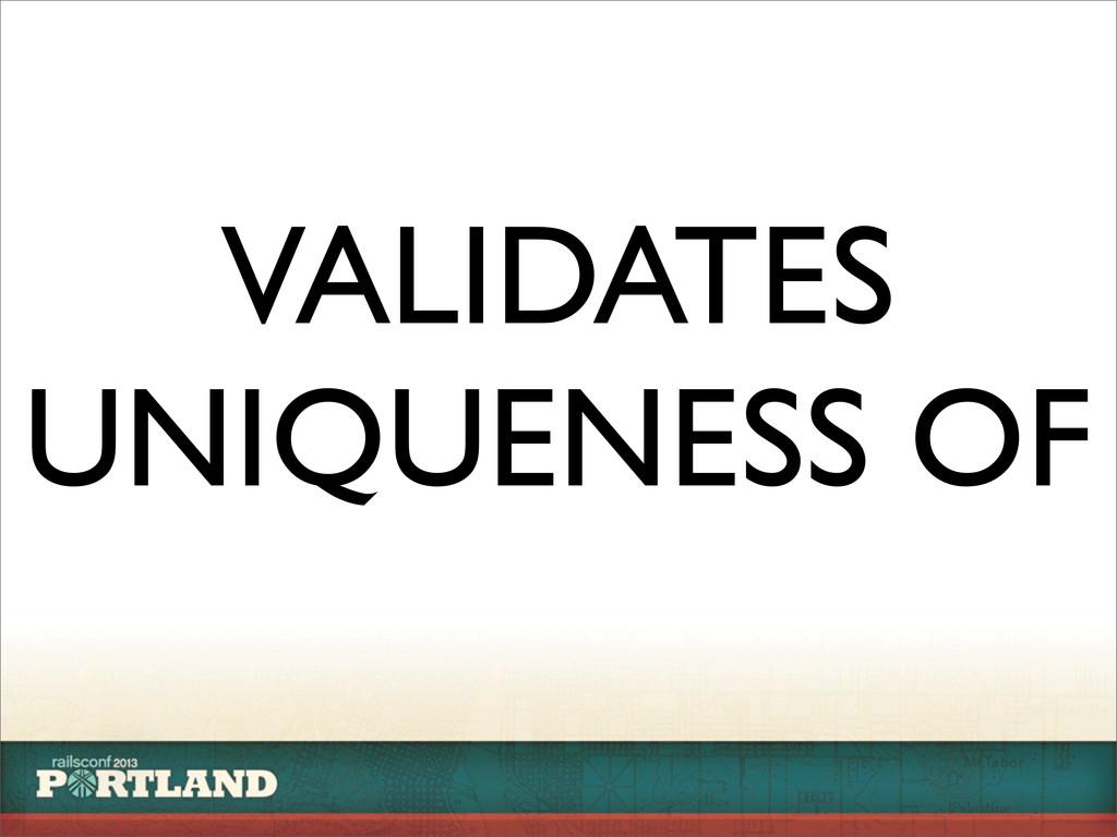 VALIDATES UNIQUENESS OF