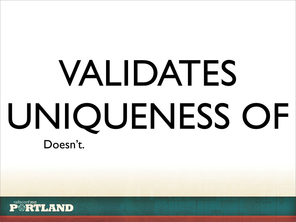 VALIDATES UNIQUENESS OF Doesn't.