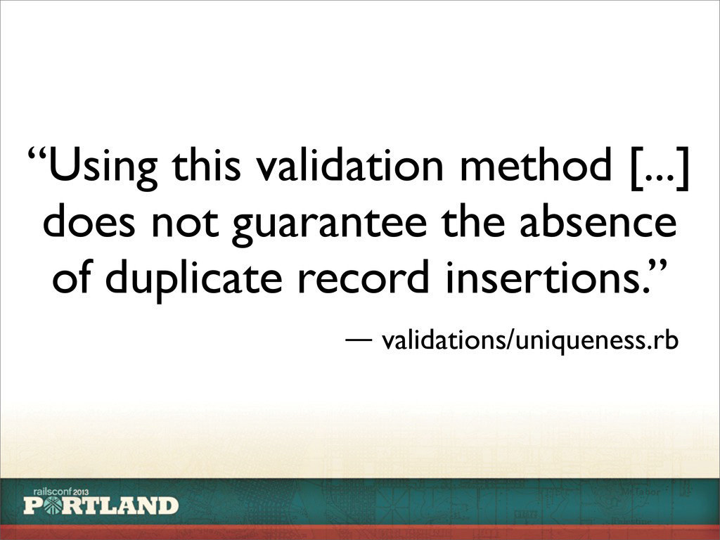 """Using this validation method [...] does not gu..."
