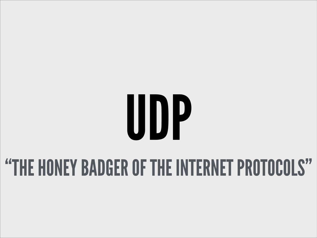 "UDP ""THE HONEY BADGER OF THE INTERNET PROTOCOLS"""