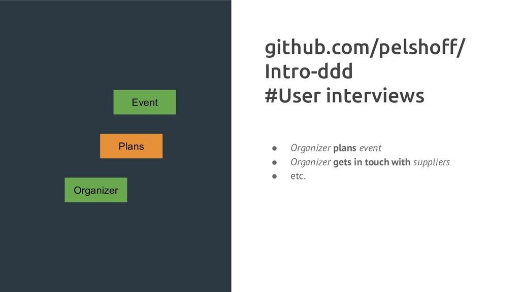 Organizer Plans Event github.com/pelshoff/ Intro...