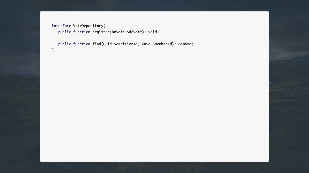 interface VoteRepository{ public function regis...