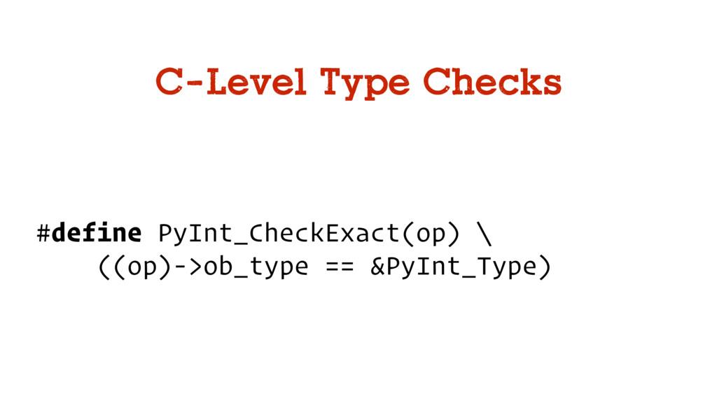 C-Level Type Checks #define PyInt_CheckExact(op...