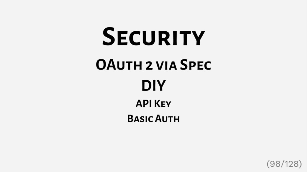 Security OAuth 2 via Spec DIY API Key Basic Auth