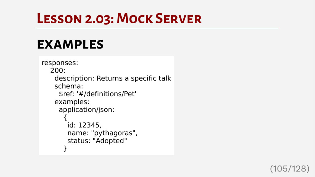 Lesson 2.03: Mock Server examples responses: 20...