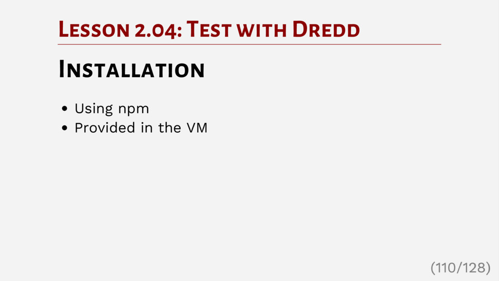 Lesson 2.04: Test with Dredd Installation Using...
