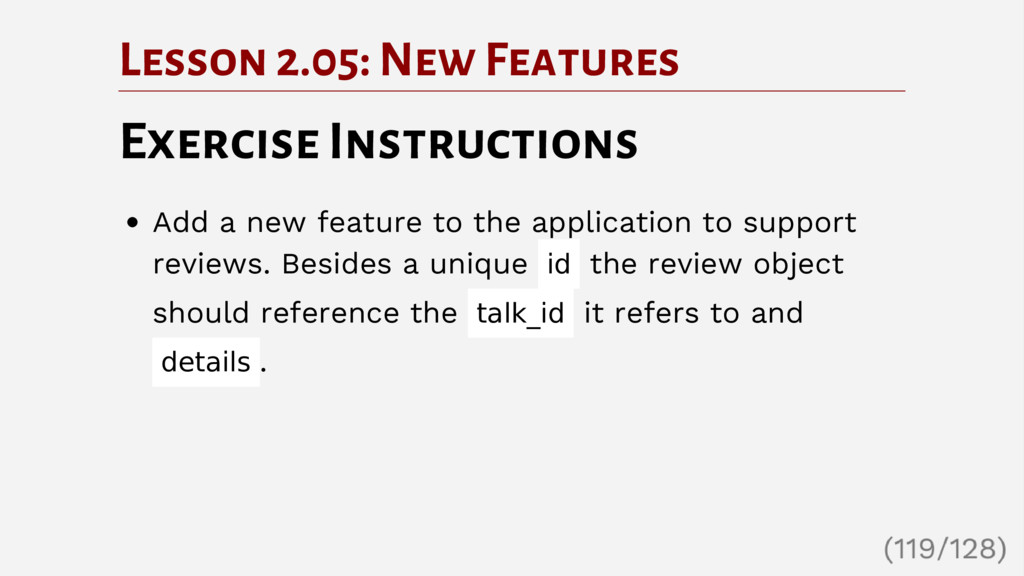 Lesson 2.05: New Features Exercise Instructions...