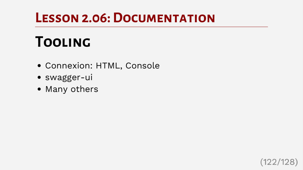 Lesson 2.06: Documentation Tooling Connexion: H...