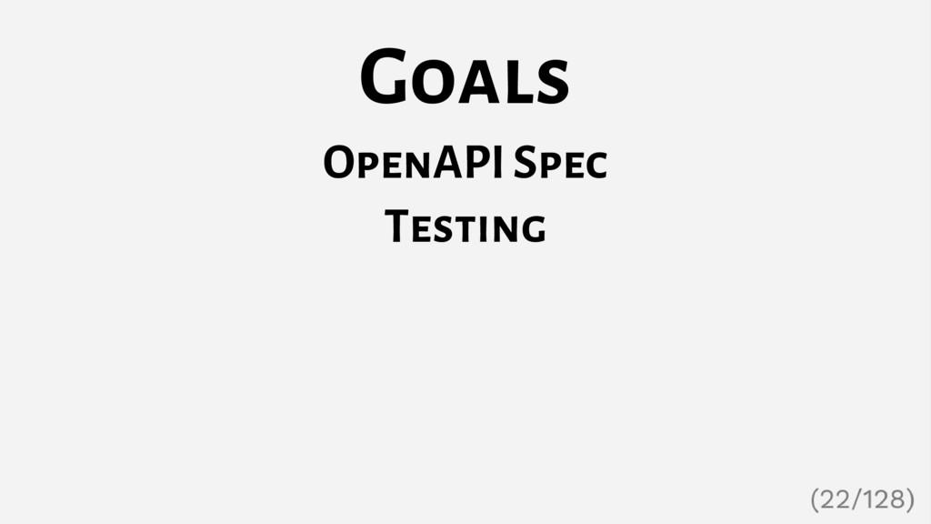 Goals OpenAPI Spec Testing